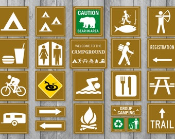 photograph regarding Free Printable Camping Signs named Tenting indicators Etsy